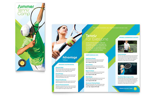 Tennis Club & Camp Tri Fold Brochure Template
