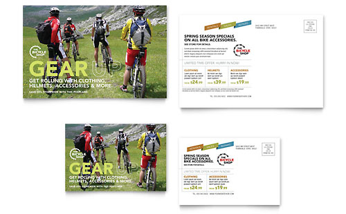 Bike Rentals & Mountain Biking Postcard Template