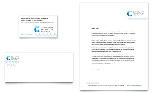 Community Swimming Pool - Business Card & Letterhead Template