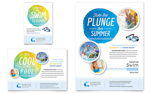 Community Swimming Pool Flyer & Ad Template