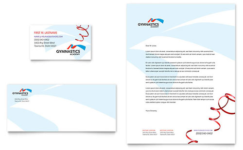 Gymnastics Academy - Business Card & Letterhead Template