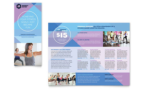 Health fitness gym flyer ad template design for Fitness brochure template