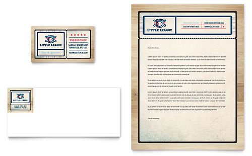 Baseball League - Business Card & Letterhead Template