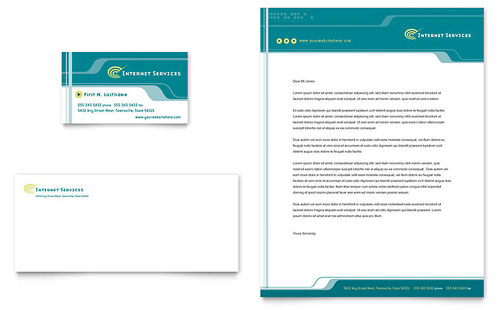 Internet Service Provider Business Card & Letterhead Template