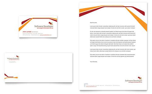 Software Developer Business Card & Letterhead Template