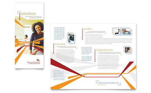 Software Developer Tri Fold Brochure Template