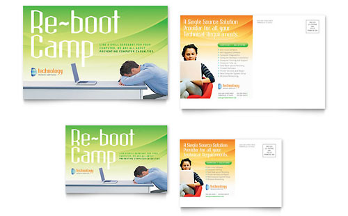 Computer & IT Services Postcard Template
