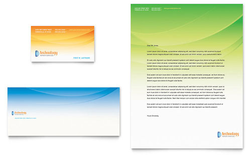 Computer & IT Services Business Card & Letterhead Template