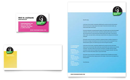 Smartphone Repair Business Card & Letterhead Template