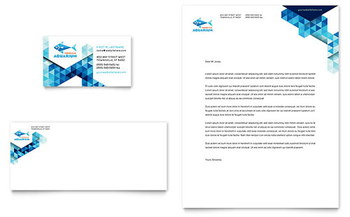 Ocean Aquarium Business Card & Letterhead Template