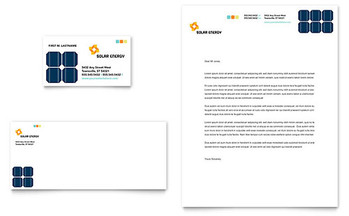 Solar Energy Business Card & Letterhead Template