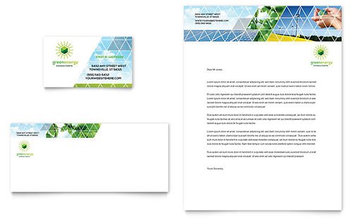 Green Energy Consultant Business Card & Letterhead Template