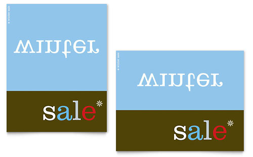 Inverse Upside Down Winter Sale Poster Template
