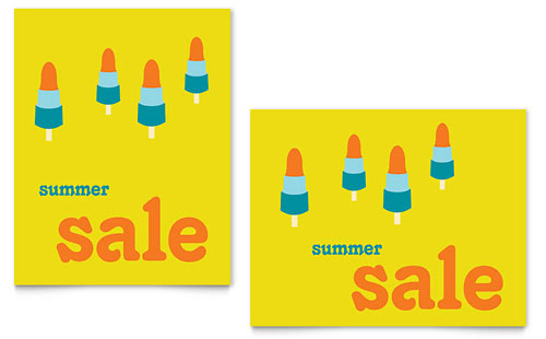 Summer Popsicles Sale Poster Template