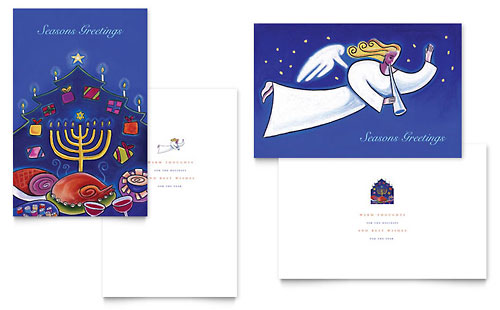 Holiday Seasons Menorah Greeting Card Template