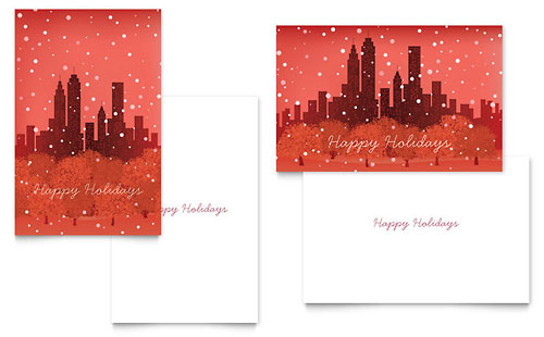 Cityscape Winter Holiday Greeting Card Template