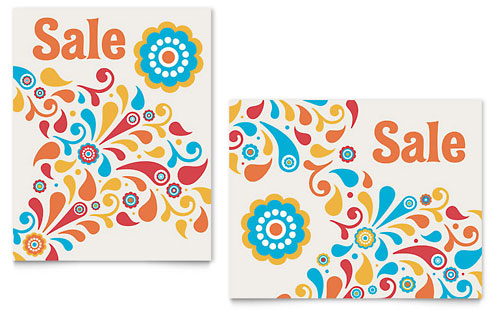 Summer Color Floral Sale Poster Template