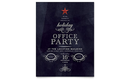Office Holiday Party Flyer Template