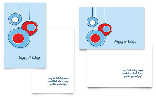 Holiday Ornament Balls Greeting Card Template