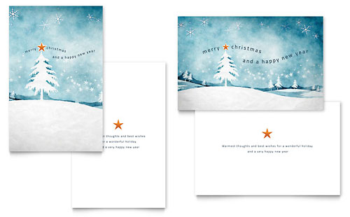 Winter Landscape Greeting Card Template