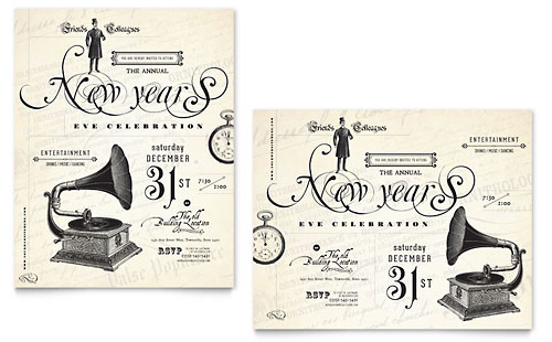 Vintage New Year's Party Poster Template