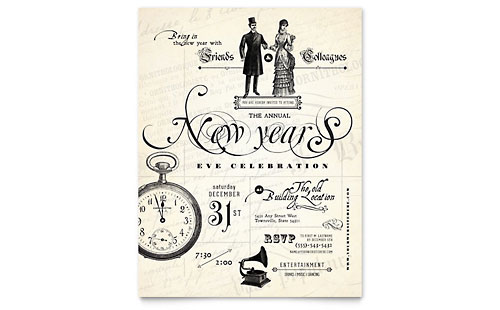 Vintage New Year's Party Flyer Template
