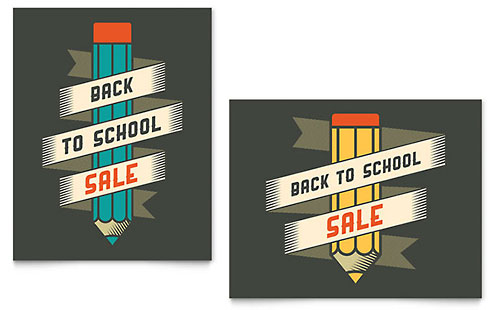 Back to School Supplies - Sale Poster Template