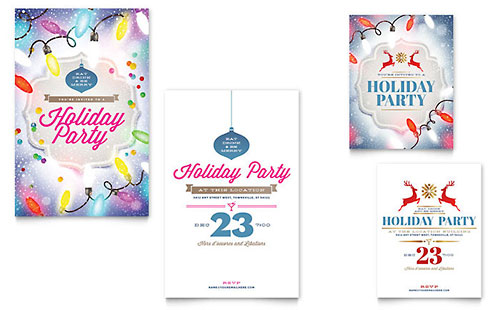 Holiday Party - Note Card Sample Template