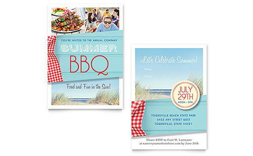 Summer BBQ Invitation Template Design