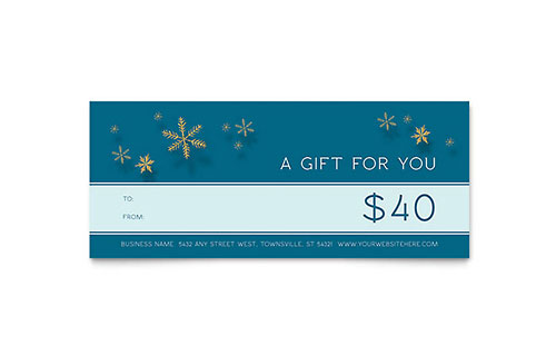 Golden Snowflakes - Sample Gift Certificate Template