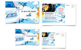 Car Wash - Postcard Template Design Sample