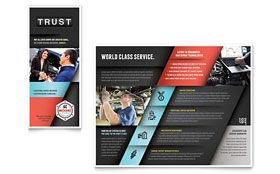 Auto Mechanic - Tri Fold Brochure Template Design Sample