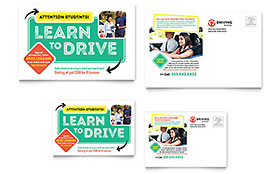 Driving School - Postcard Sample Template