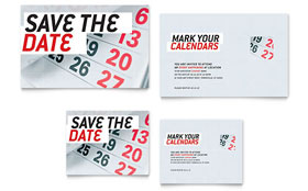 Save The Date - Note Card Template Design Sample