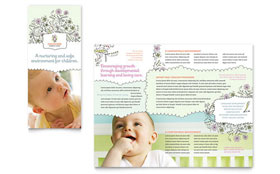Babysitting & Daycare - Tri Fold Brochure Template Design Sample