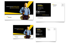 Electrician - Postcard Template Design Sample
