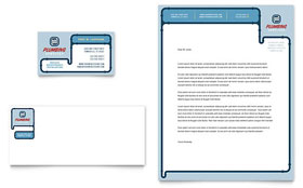 Plumbing Services - Business Card & Letterhead Template Design Sample