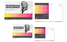 Adult Education & Business School - Postcard Template Design Sample