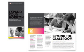 Adult Education & Business School - Tri Fold Brochure Template Design Sample