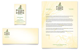 Italian Pasta Restaurant - Business Card & Letterhead Template Design Sample