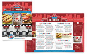 American Diner Restaurant - Menu Template Design Sample