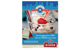 American Diner Restaurant - Flyer Template Design Sample
