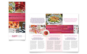 Corporate Event Planner & Caterer - Tri Fold Brochure Template Design Sample