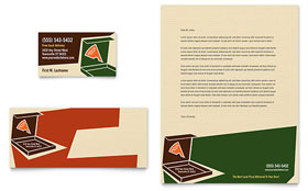Pizza Pizzeria Restaurant - Business Card & Letterhead Template Design Sample