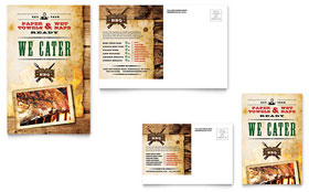 Steakhouse BBQ Restaurant - Postcard Template Design Sample