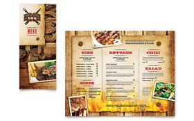 Steakhouse BBQ Restaurant - Take-out Brochure Template Design Sample