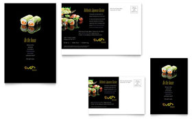 Sushi Restaurant - Postcard Sample Template