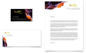 Sushi Restaurant - Business Card & Letterhead Template Design Sample
