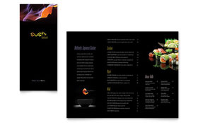 Sushi Restaurant - Take-out Brochure Template Design Sample