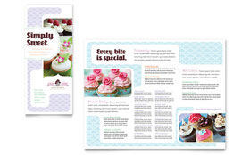 Bakery & Cupcake Shop - Tri Fold Brochure Template Design Sample
